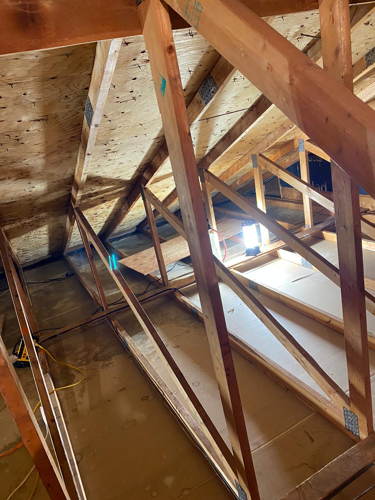After Removal of asbestos containing vermiculite insulation and treating mold on the udnershide of the roof sheeting.